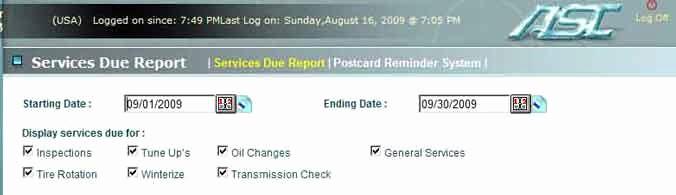 Vehicle Service Due Status Report Unique Auto Shop Controller Line Edition