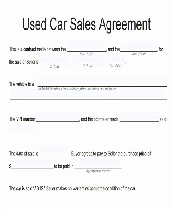 Vehicle sold as is Template Best Of 10 Vehicle Sales Agreement Samples