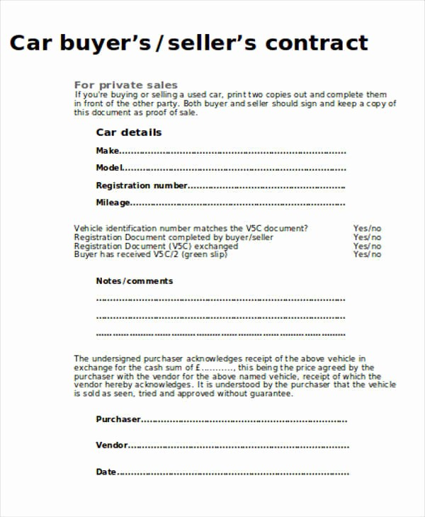 Vehicle sold as is Template Elegant 12 Sample Car Sales Contracts