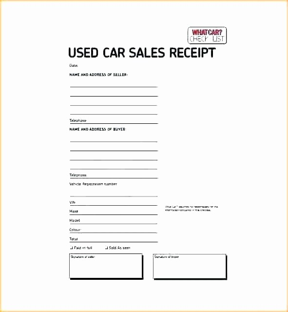 Vehicle sold as is Template Unique Car Sales Receipt Template for Selling A Car From Car