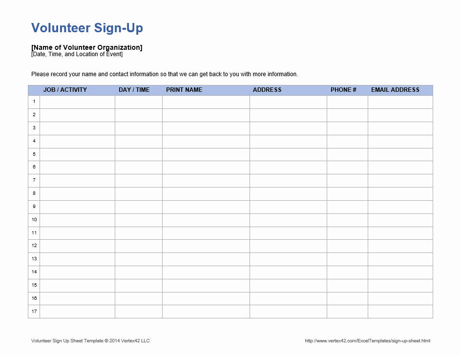 Volunteer Sign Up form Template Awesome Sample Volunteer Sign Up Sheets