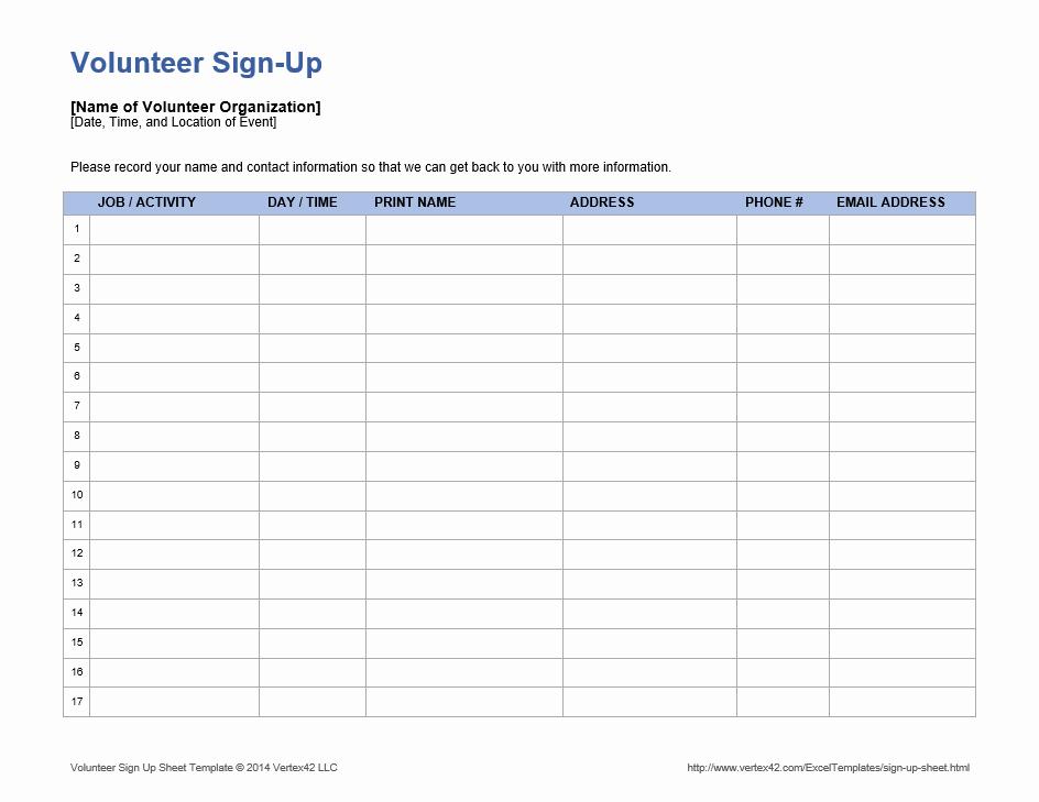 Volunteer Sign Up form Template Awesome Sample Volunteer Sign Up Sheets