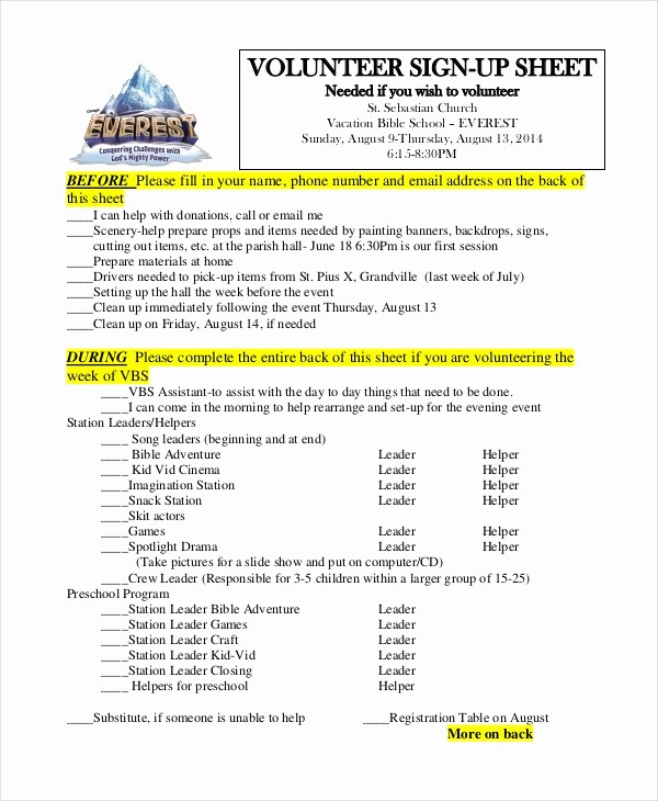 Volunteer Sign Up form Template Awesome Sign Up Sheet 16 Free Pdf Word Documents Download