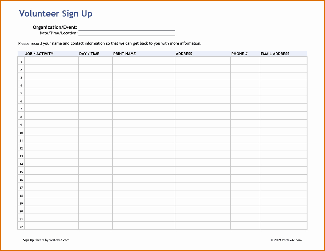 Volunteer Sign Up form Template Elegant 7 Sign Up Sheet Pdf