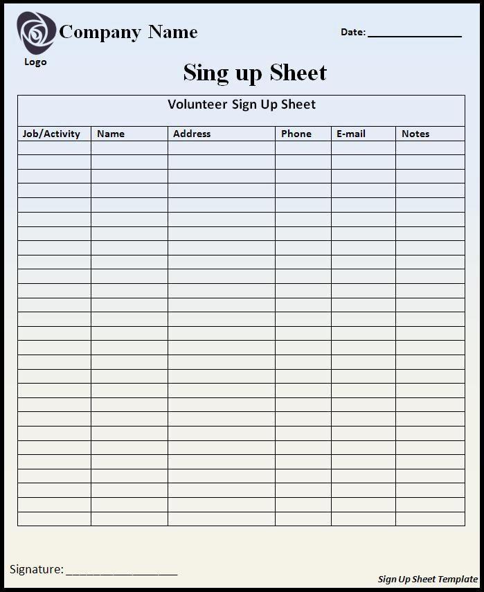 Volunteer Sign Up form Template Fresh Sign Up Sheet Template