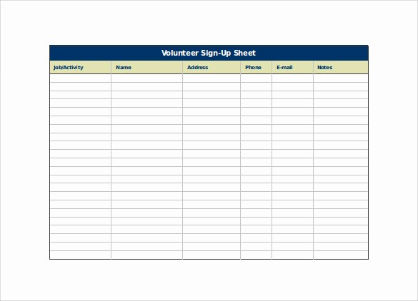 Volunteer Sign Up form Template Inspirational 23 Sample Sign Up Sheet Templates – Pdf Word Pages