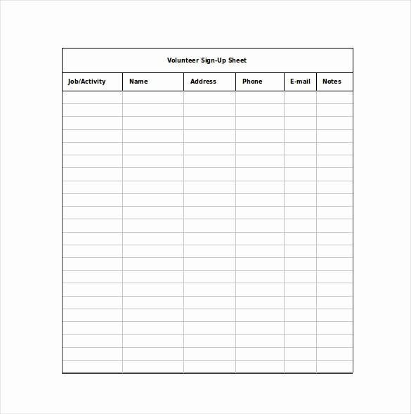 Volunteer Sign Up form Template Lovely 12 Sign Up Sheet Templates Free Excel Word Sample