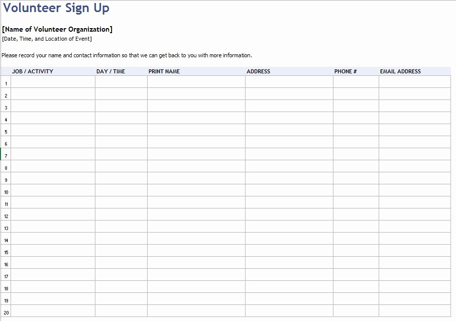 Volunteer Sign Up form Template Lovely 9 Free Sample Volunteer Sign Up Sheet Templates