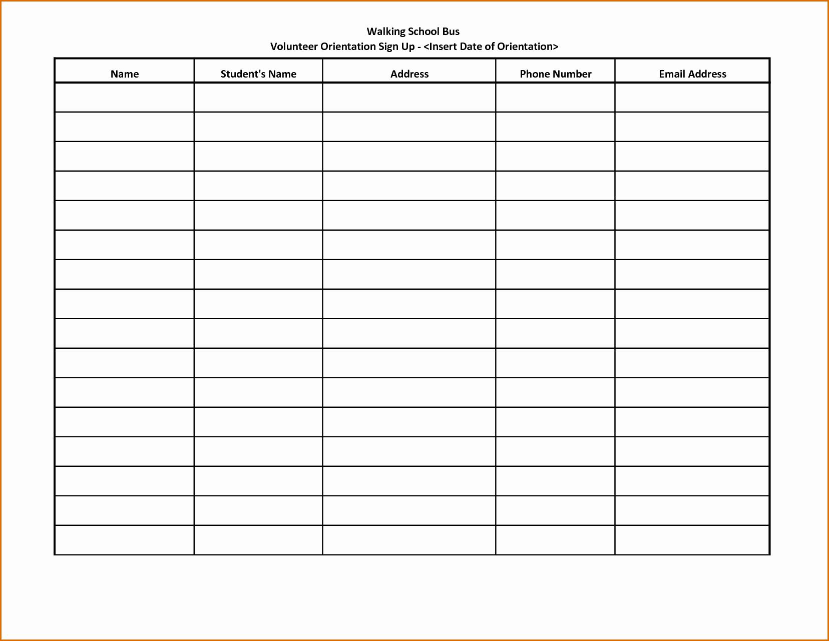 Volunteer Sign Up form Template Luxury 10 Volunteer Sign Up Sheet Template