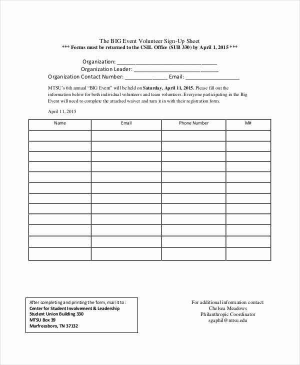 Volunteer Sign Up form Template Luxury event Sign In Sheet Template 16 Free Word Pdf