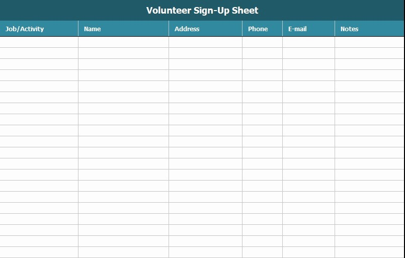 Volunteer Sign Up form Template Luxury Free Sign Up Sheet Template Excel and Word Excel Tmp