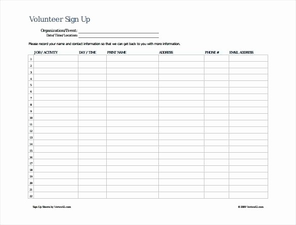 Volunteer Sign Up form Template New event Sign In Sheet Template – Giancarlosopofo