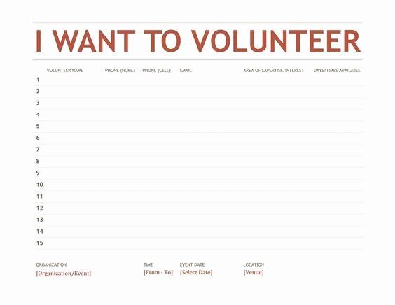 Volunteer Sign Up form Template Unique Volunteer Sign Up Sheet Templates 2 S