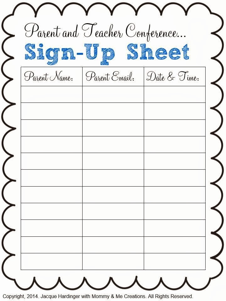 Volunteer Sign Up Sheet Printable Awesome Spark Of Inspiration Parent and Teacher Conference Freebie