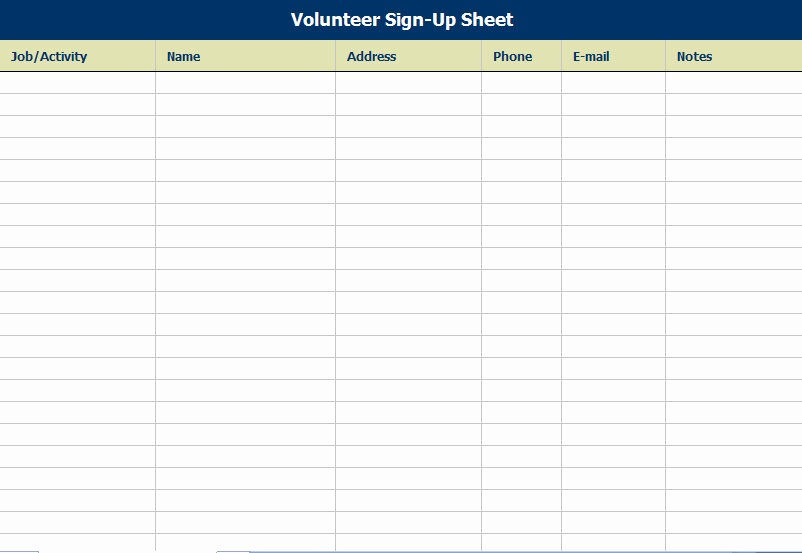 Volunteer Sign Up Sheet Printable Awesome Volunteer attendance Sign In Sheet