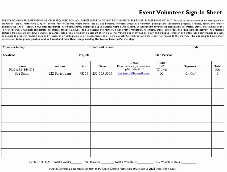 Volunteer Sign Up Sheet Printable Beautiful 10 Free Sample Volunteer Sign In Sheet Templates