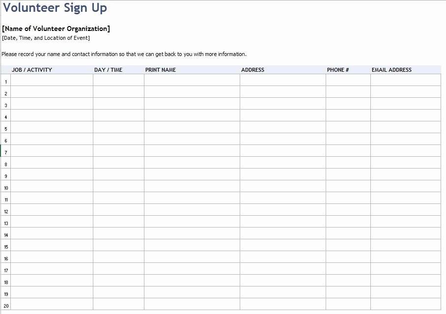 Volunteer Sign Up Sheet Printable Fresh 9 Free Sample Volunteer Sign Up Sheet Templates