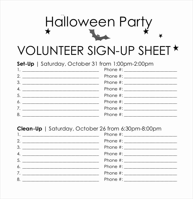 Volunteer Sign Up Sheet Printable Inspirational Sign Up Sheets 58 Free Word Excel Pdf Documents