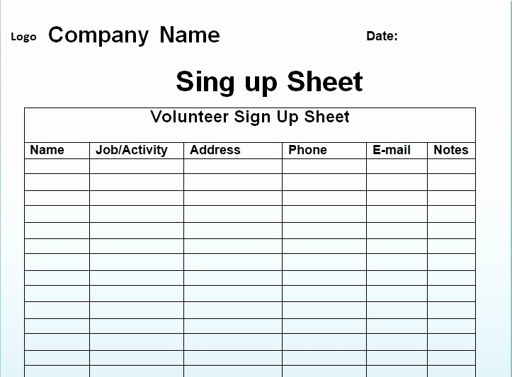 Volunteer Sign Up Sheet Printable Luxury Free Sign Up Sheet Template Excel and Word Excel Tmp