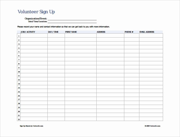 Volunteer Sign Up Sheet Printable Luxury Sign Up Sheet Template 10 Free Samples Examples format