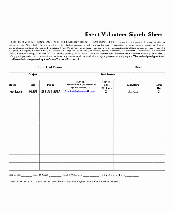 Volunteer Sign Up Sheet Printable New Volunteer Sign In Sheet Templates 14 Free Pdf Documents