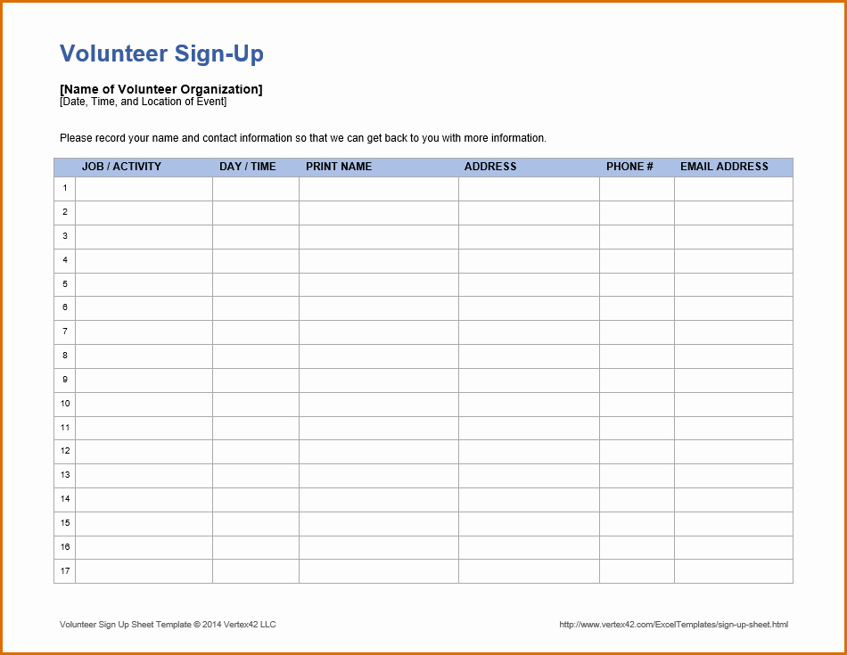 Volunteer Sign Up Sheet Printable Unique 10 Volunteer Sign Up Sheet Template