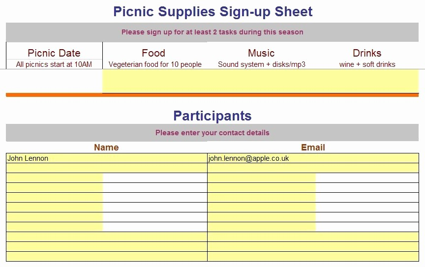 Volunteer Sign Up Sheet Printable Unique 9 Free Sample Volunteer Sign Up Sheet Templates