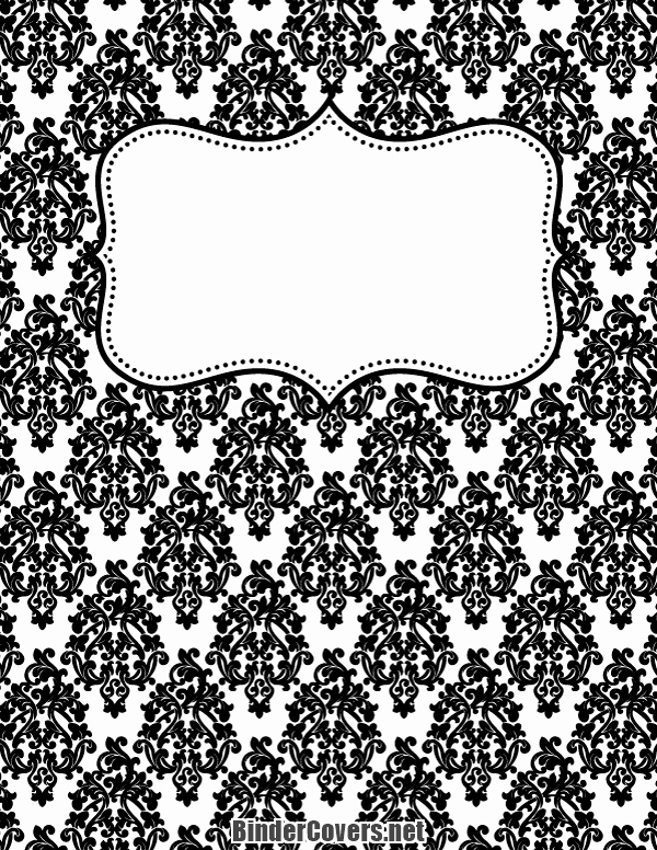 Wedding Binder Cover Page Template Awesome Printable Black and White Damask Binder Cover