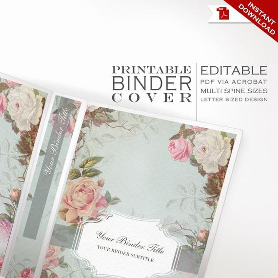 Wedding Binder Cover Page Template Best Of Binder Cover Printable Editable French Country Vintage Rose