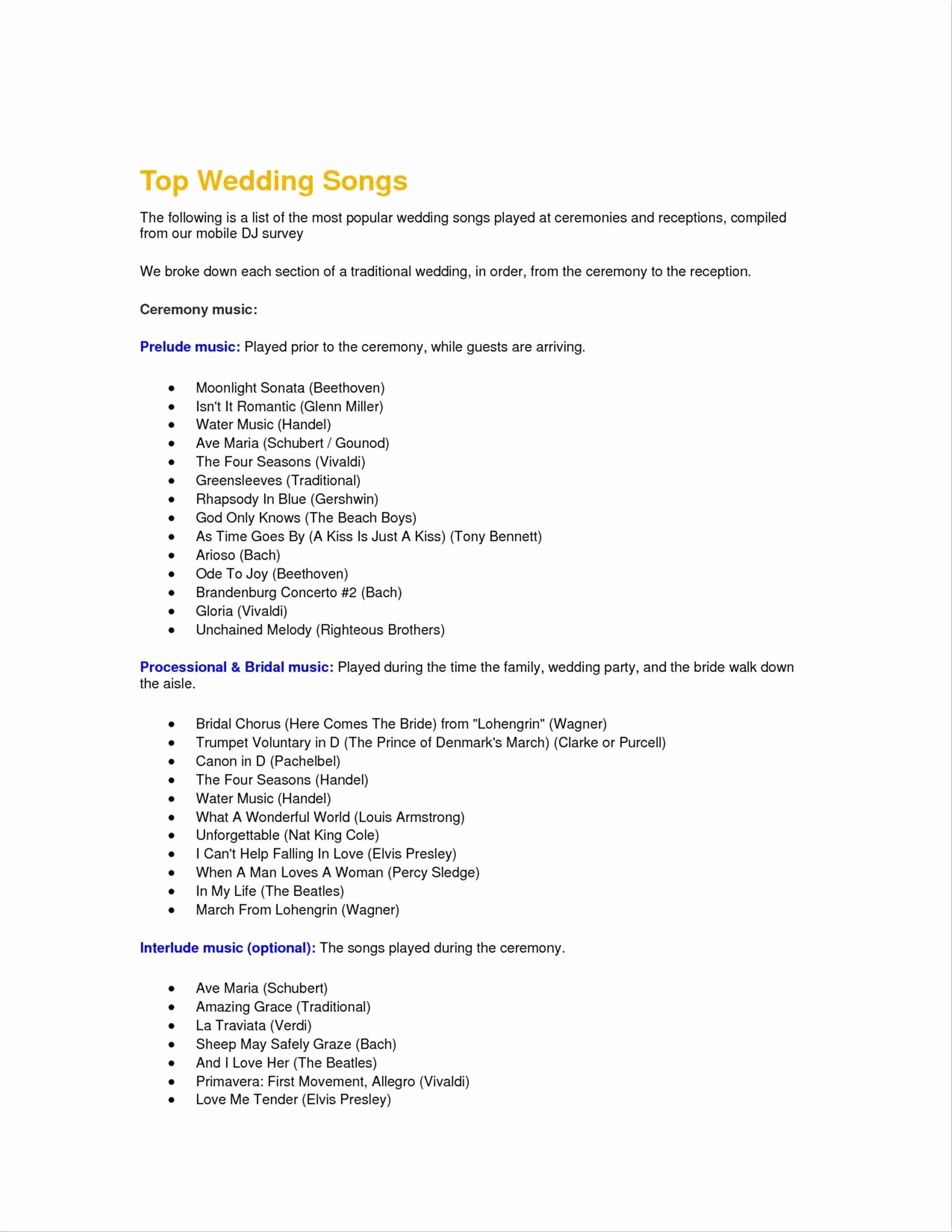 Wedding Ceremony song List Template Awesome List Wedding Ceremony songs