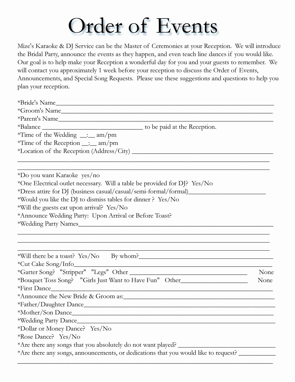 Wedding Ceremony song List Template Beautiful Wedding Itinerary Templates Free