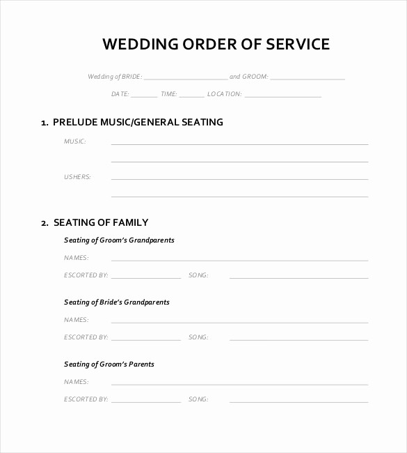 Wedding Ceremony song List Template Fresh Wedding order Template – 38 Free Word Pdf Psd Vector
