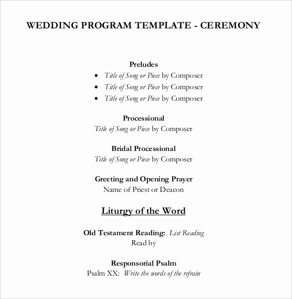 Wedding Ceremony song List Template Fresh Wedding Program Templates – 15 Free Word Pdf Psd