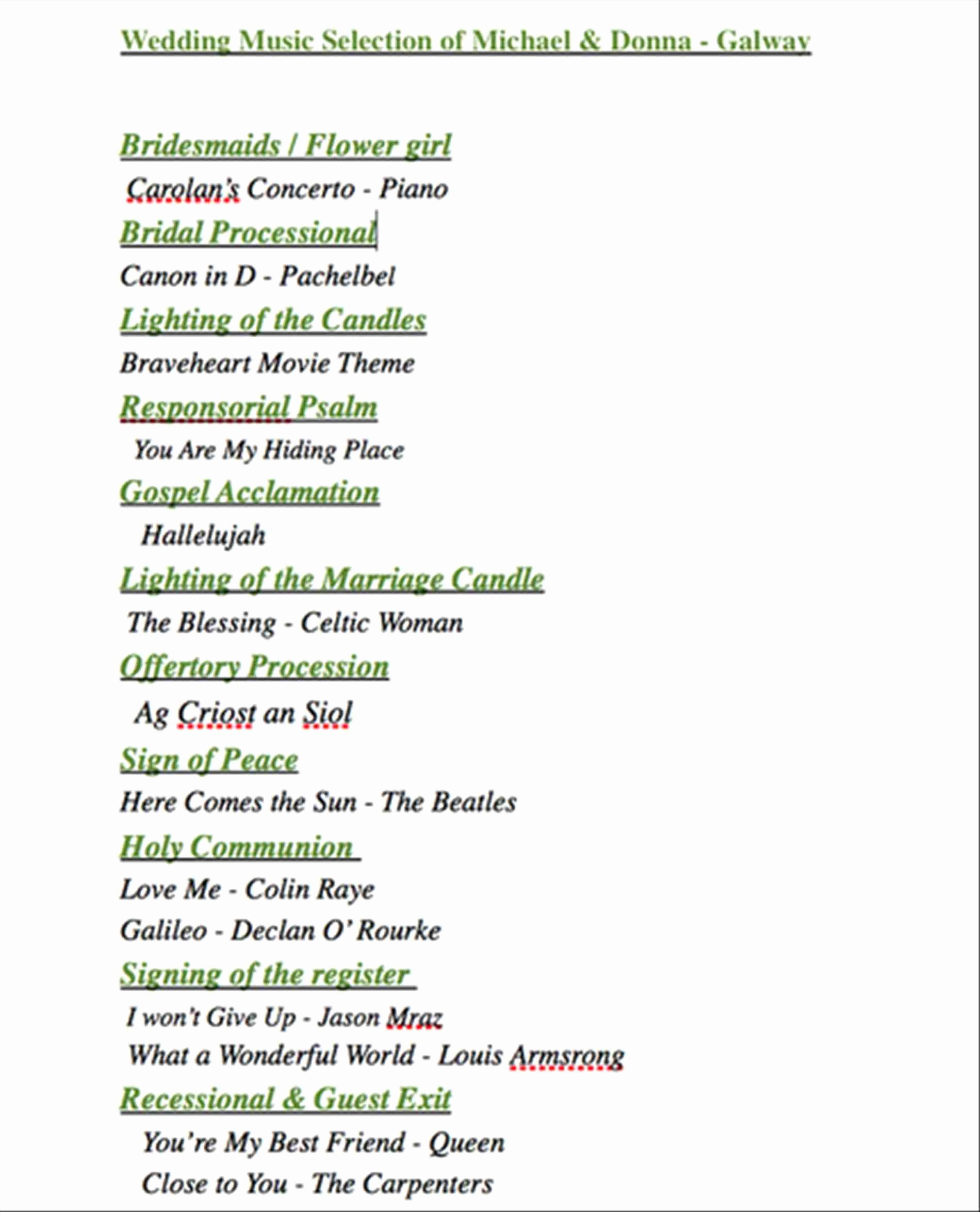 Wedding Ceremony song List Template Lovely List Wedding Ceremony songs