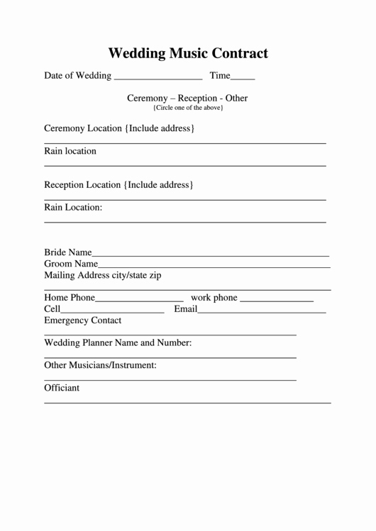 Wedding Ceremony song List Template Luxury Wedding Music Contract Printable Pdf