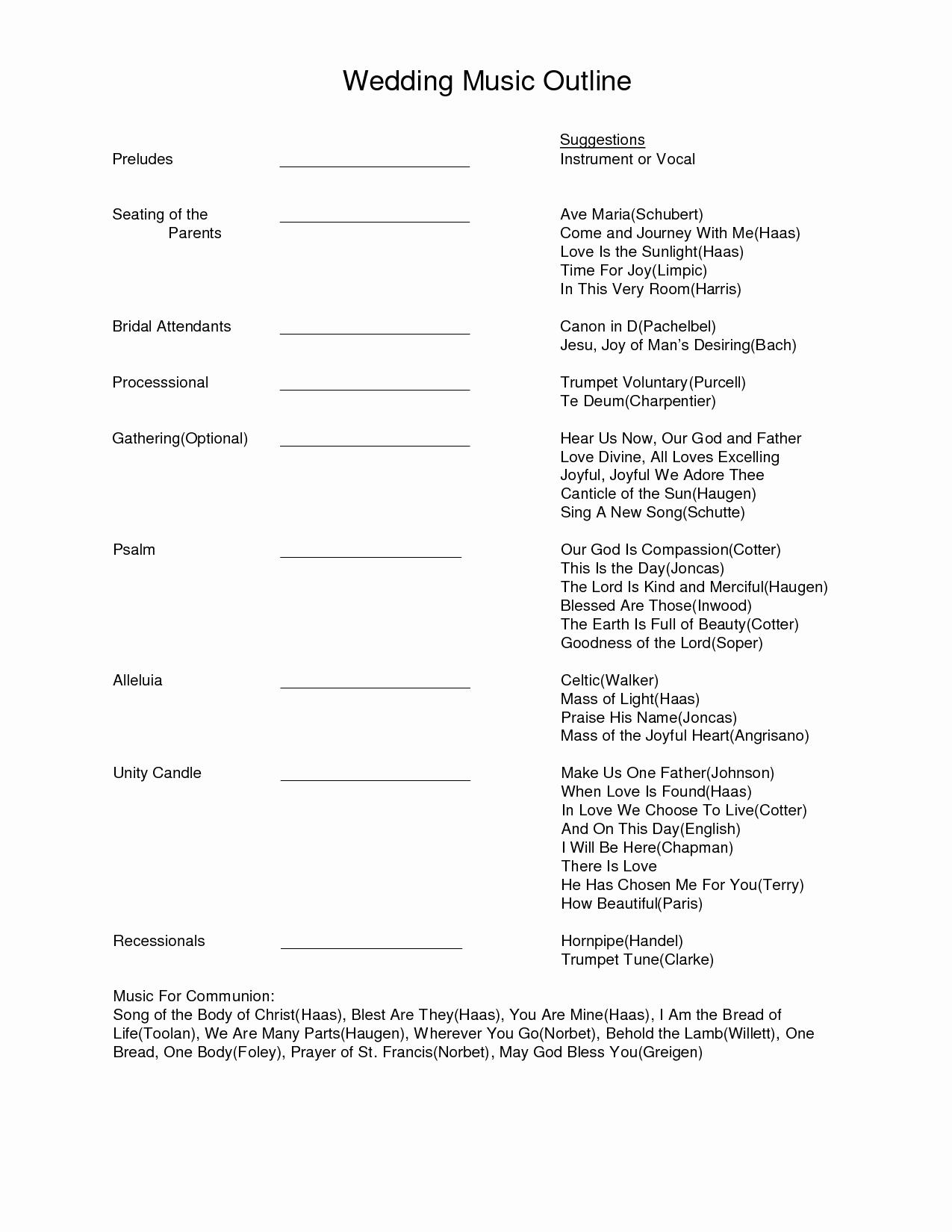 Wedding Ceremony song List Template Luxury Wedding Music Outline Document Sample Wedding Music