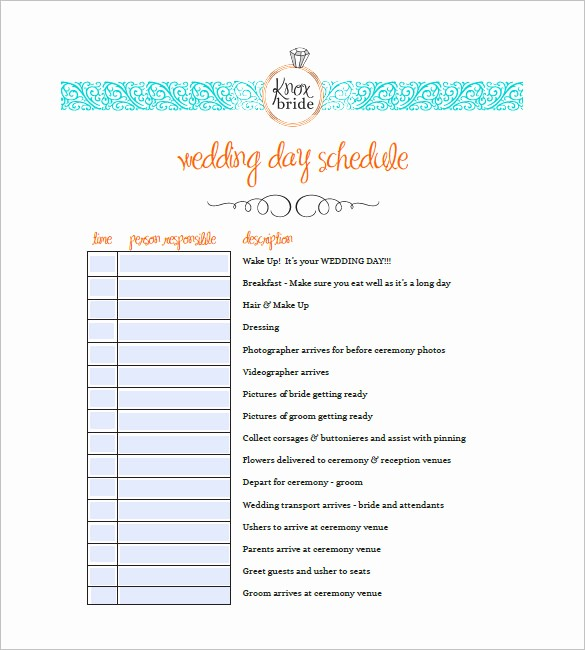 Wedding Day Timeline Template Free Beautiful 9 Wedding Agenda Templates Free Sample Example format