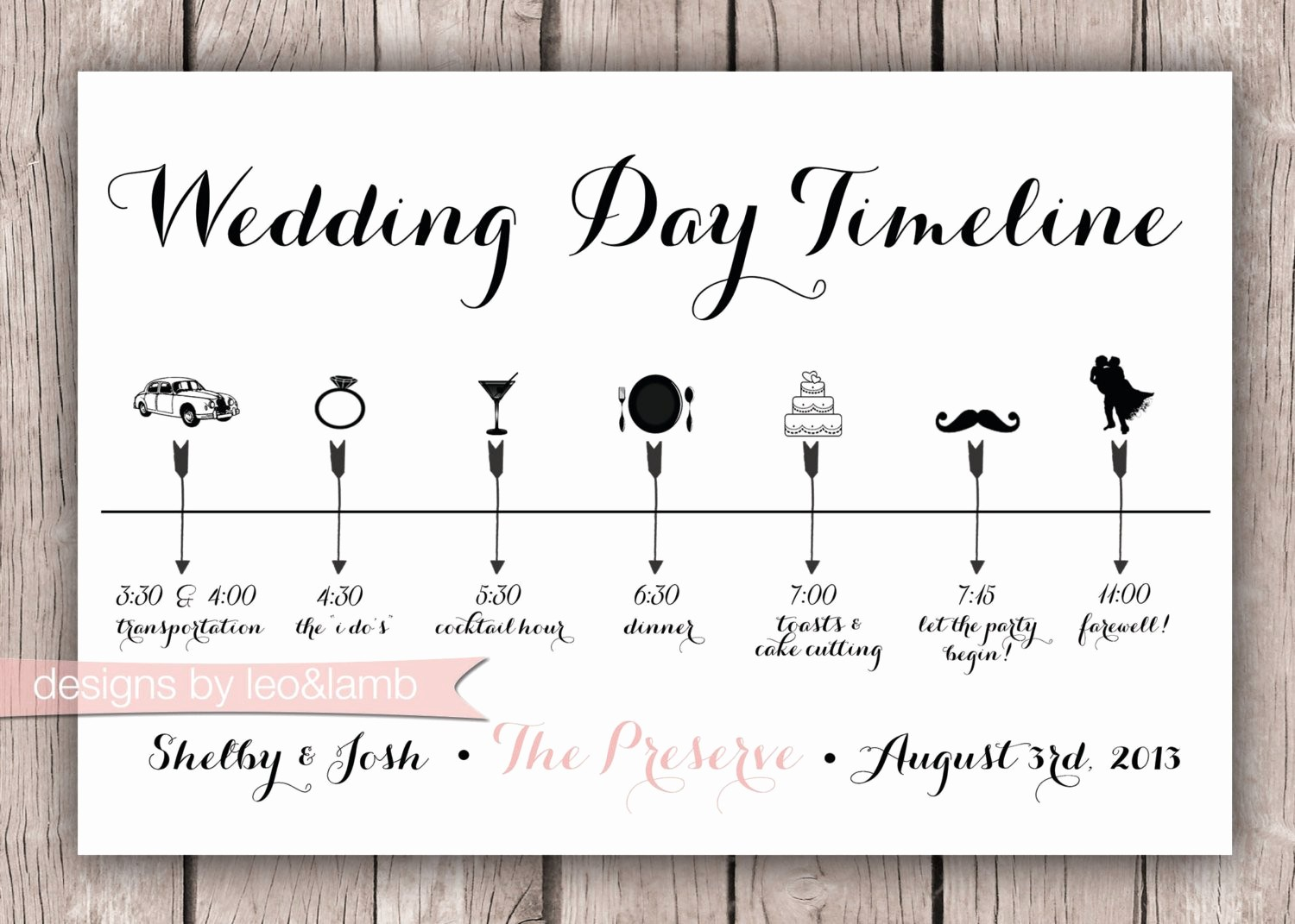 Wedding Day Timeline Template Free Beautiful Custom Wedding Timeline 5x7 Digital File