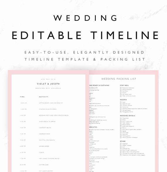 Wedding Day Timeline Template Free Best Of Violet Wedding Timeline Template Minimal Bridal Wedding Day