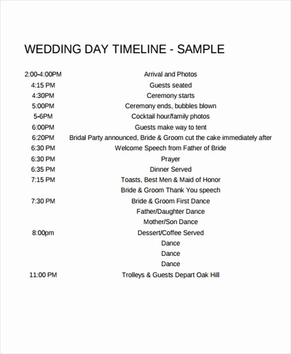 Wedding Day Timeline Template Free Elegant 6 Wedding Day Timeline Templates Free Samples Examples