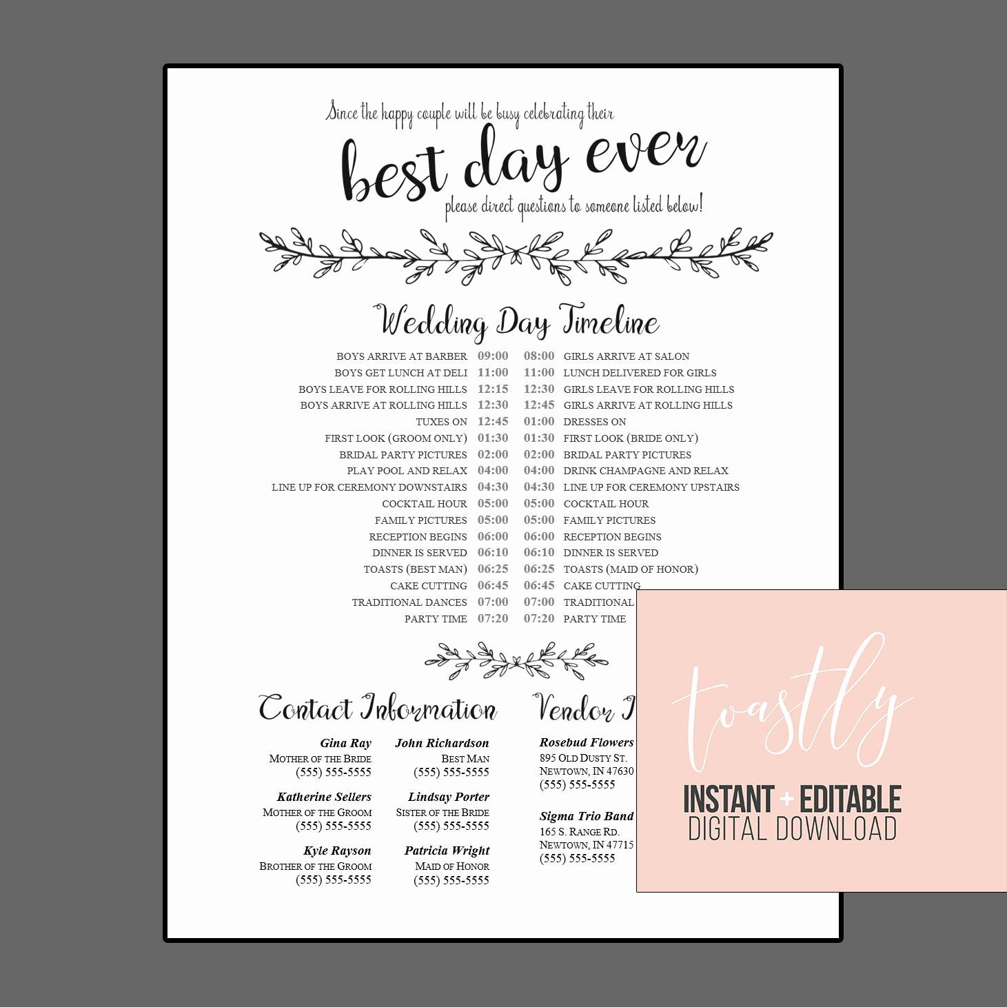 Wedding Day Timeline Template Free Elegant Editable Wedding Timeline Edit In Word Phone Numbers and