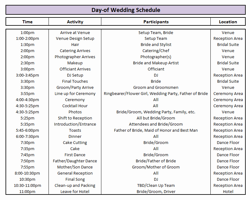 Wedding Day Timeline Template Free Fresh Day Of Wedding Schedule Great Tips for Planning Out Your