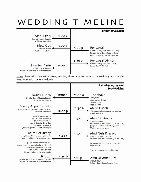 Wedding Day Timeline Template Free Unique How to Create A Wedding Reception Timeline