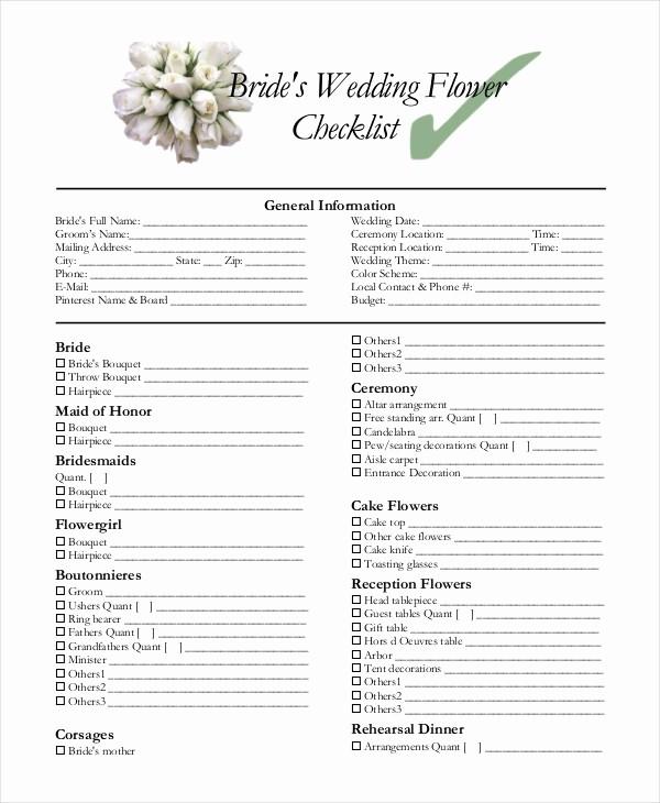 Wedding Flowers order form Template Best Of Simple Wedding Checklist 23 Free Word Pdf Documents