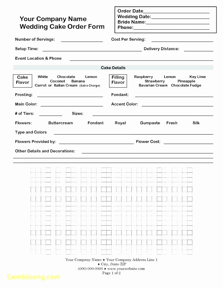 Wedding Flowers order form Template Elegant Wedding Flower order form Template Line Cake Beautiful