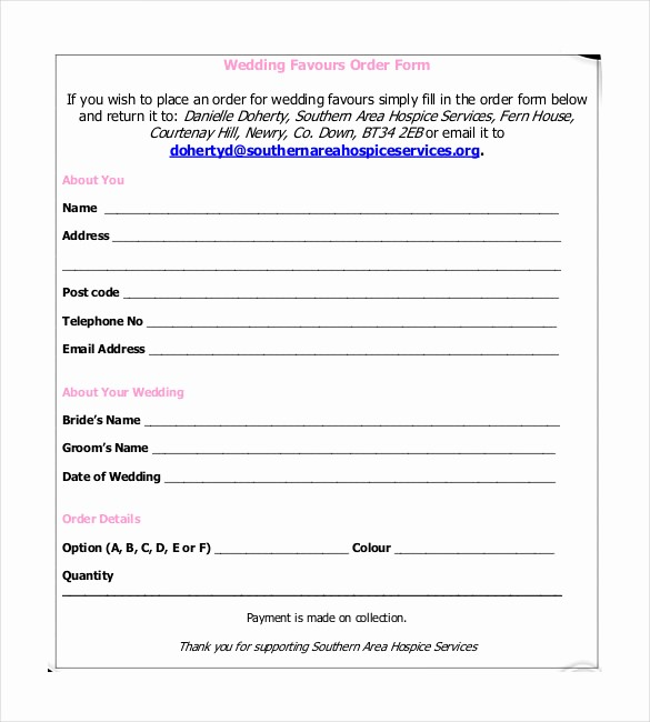 Wedding Flowers order form Template Fresh Free Wedding Flower order form Template