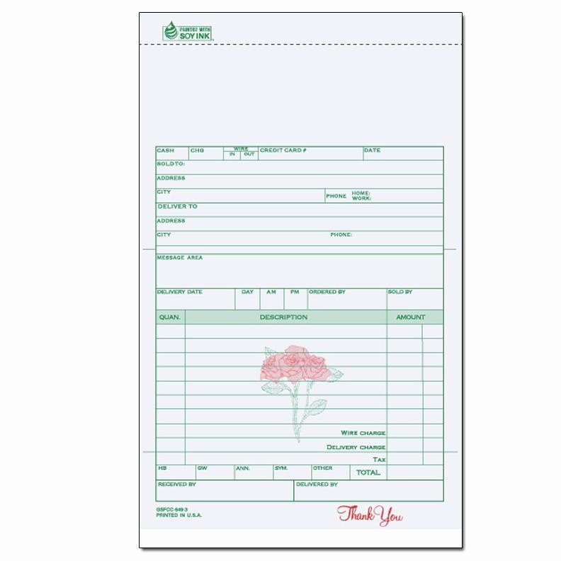Wedding Flowers order form Template Inspirational Florists & Flower Shop Invoices Receipts