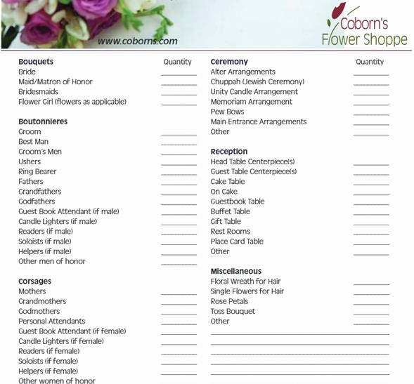 Wedding Flowers order form Template Lovely Wedding Flowers Wedding Flower Sheet