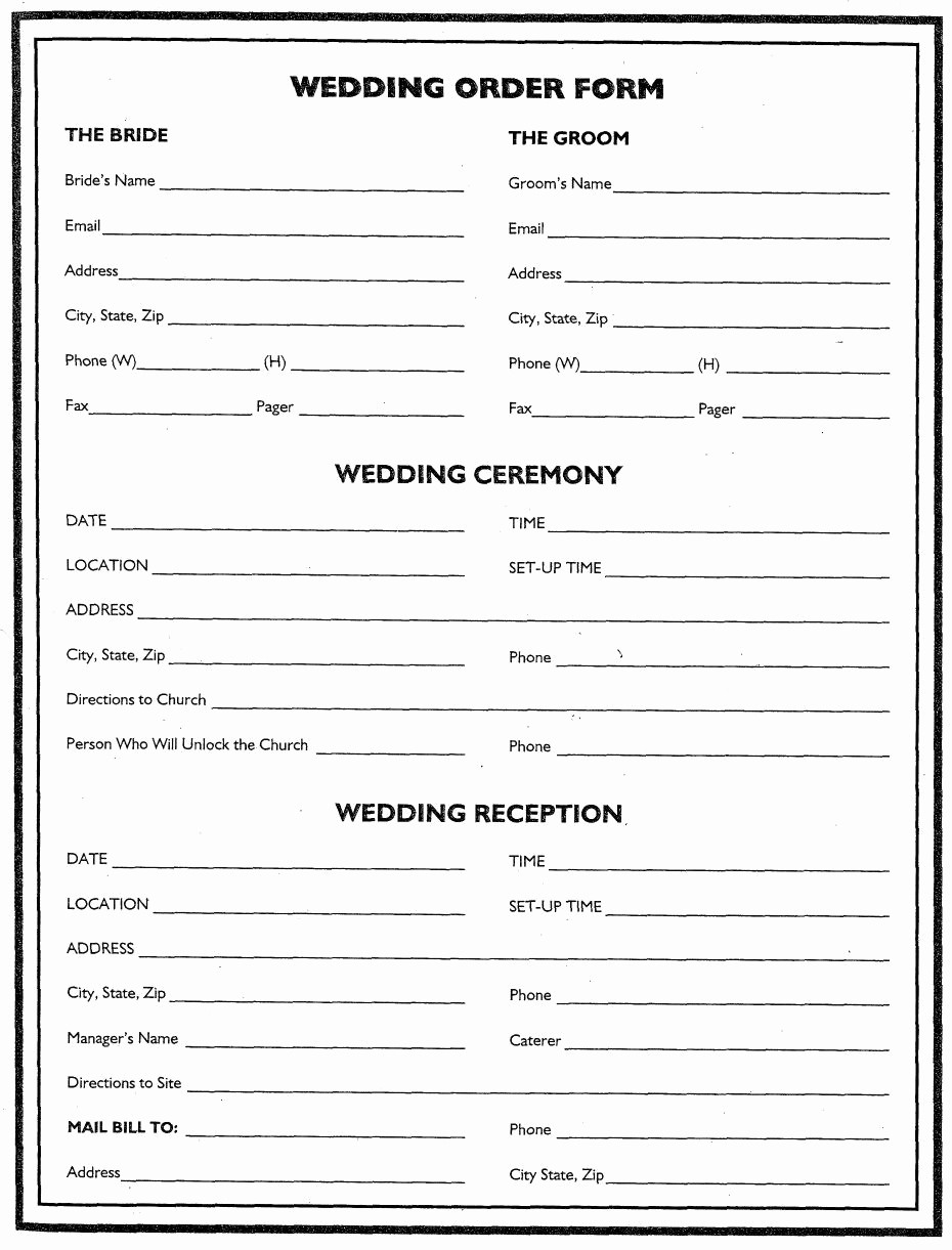 Wedding Flowers order form Template Luxury Wedding Flower Planner Wedding order form