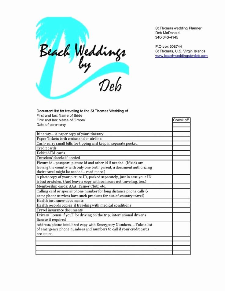 Wedding Guest List Print Out Elegant A St Thomas Wedding or Destination Wedding Travel Document